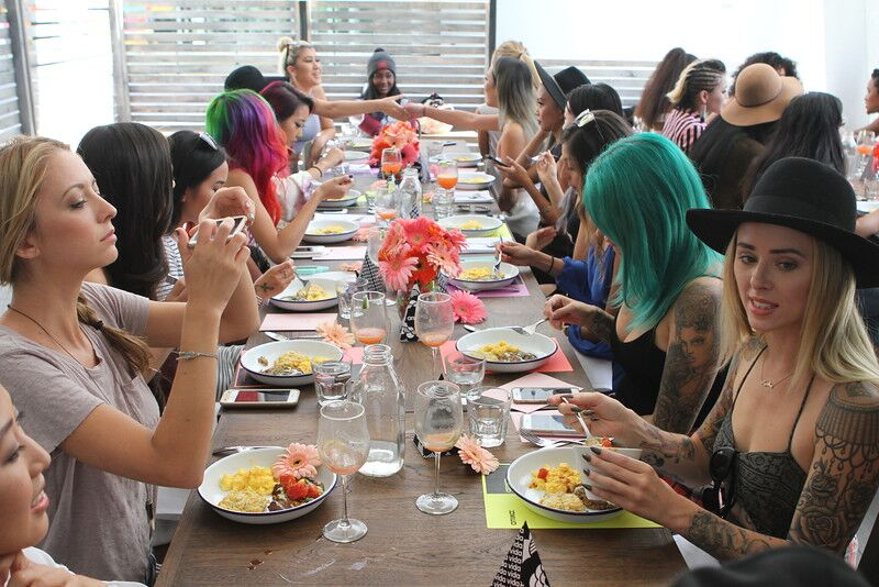 Amika Influencer Brunch with Hello Drama Pr Influencers Seated